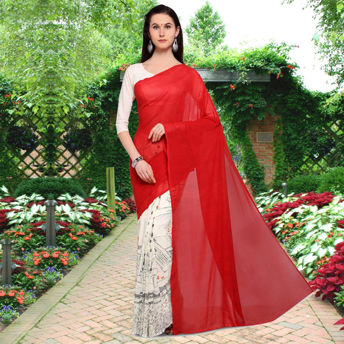 Gorgeous Red-Off-White Colored Half N Half Printed Georgette Saree