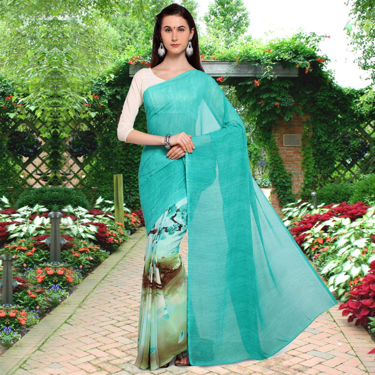Gorgeous Turquoise Blue Colored Half N Half Printed Georgette Saree