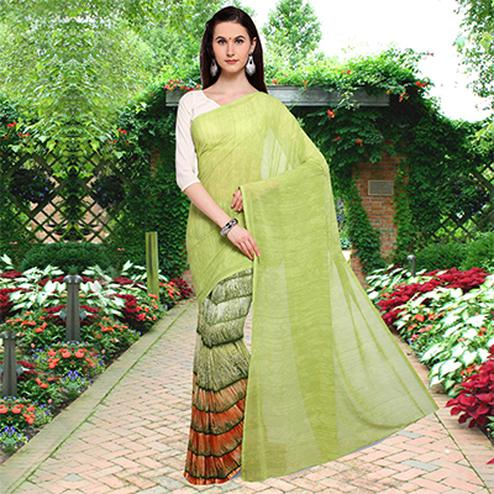 Gorgeous Green Colored Half N Half Printed Georgette Saree