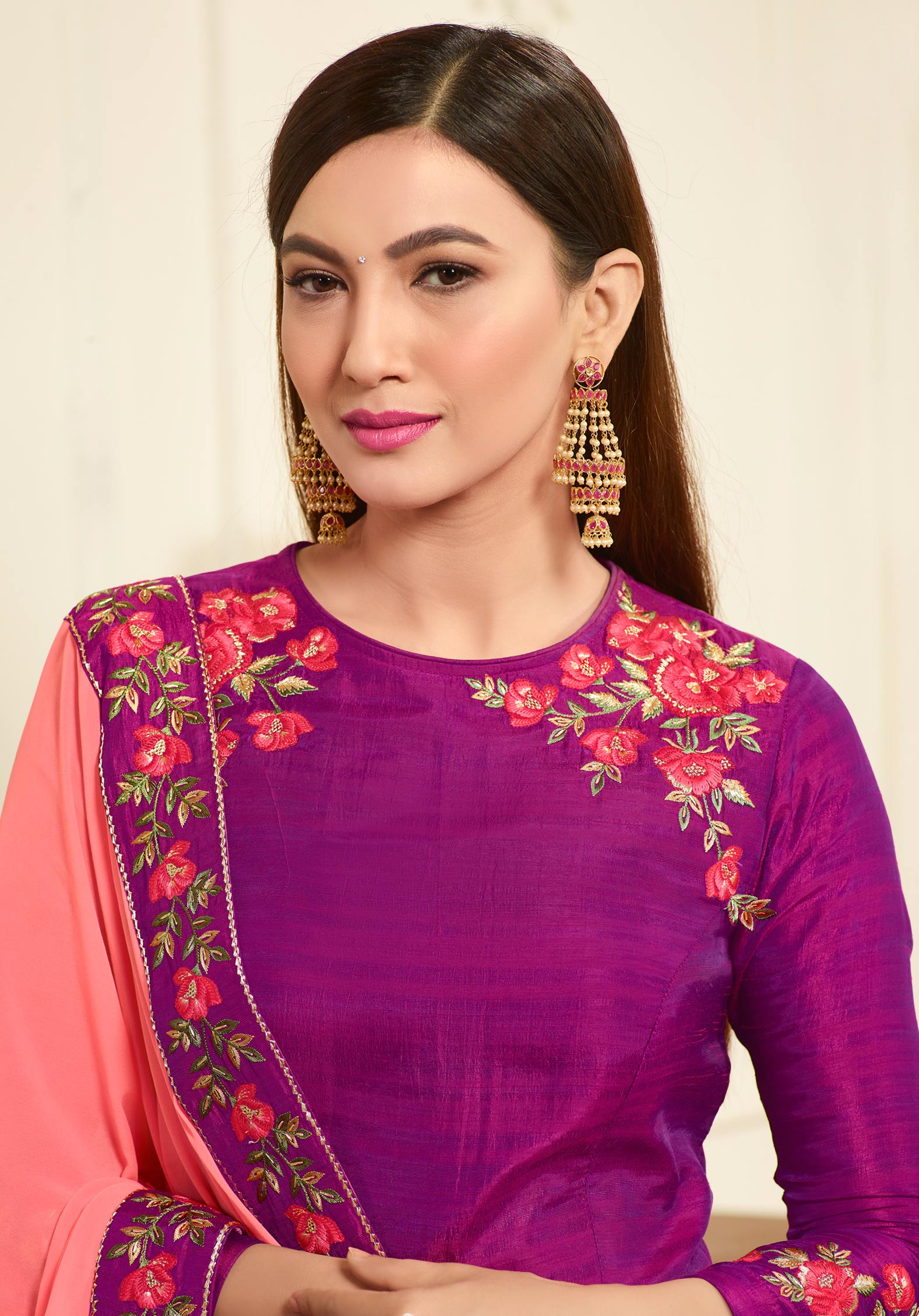 Sizzling Fuschia Pink Designer Embroidered Banarasi Silk Anarkali Suit