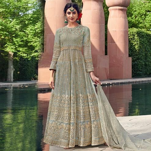 Pretty Grey Coloured Embroidered Net Partywear Semi Stitched Gown