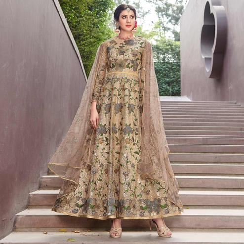 Flaunt Golden Coloured Embroidered Net Partywear Semi Stitched Gown