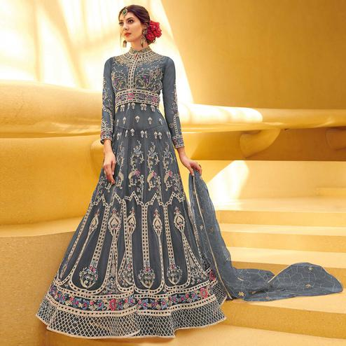 Mesmerising Grey Coloured Embroidered Net Partywear Semi Stitched Gown