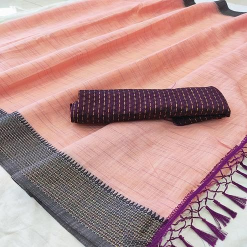 Captivating Pink Colored lining Pattern Casual Wear Cotton Saree