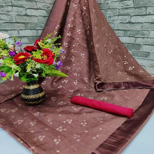 Amazing Cofee Colored Foil Print And Satin Woven Border Casual Wear Cotton Saree