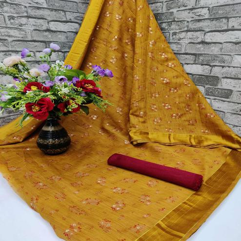 Gorgeous Gold Colored Foil Print And Satin Woven Border Casual Wear Cotton Saree