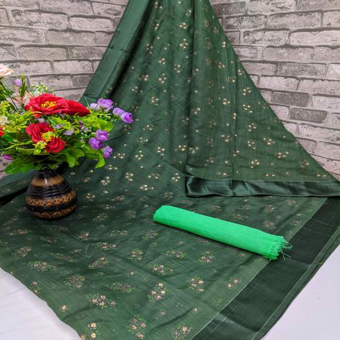 Blissful Green Colored Foil Print And Satin Woven Border Casual Wear Cotton Saree
