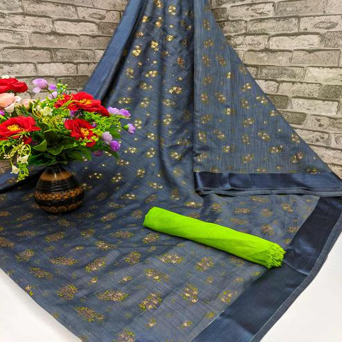 Ideal Grey Colored Foil Print And Satin Woven Border Casual Wear Cotton Saree