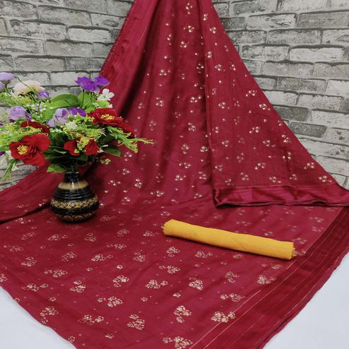 Lovely Red Colored Foil Print And Satin Woven Border Casual Wear Cotton Saree
