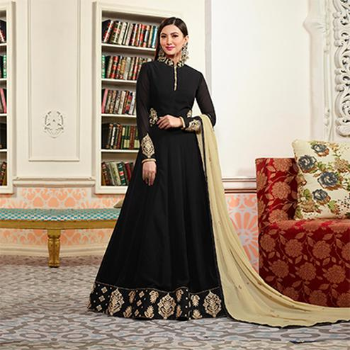 Stunning Black Designer Embroidered Faux Georgette Anarkali Suit