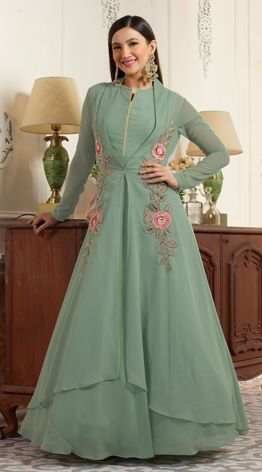 Graceful Green Partywear Designer Embroidered Faux Georgette Anarkali Suit