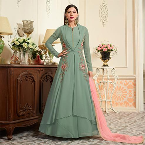 Graceful Green Partywear Designer Embroidered Georgette Anarkali Suit