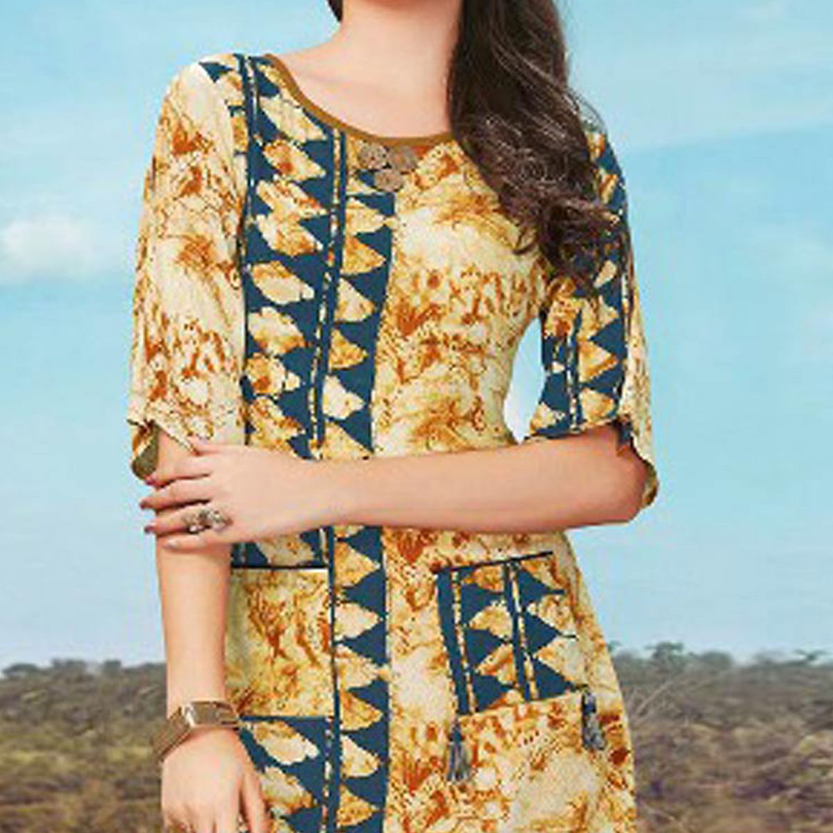 Charming Beige Fancy Printed Rayon Tunic