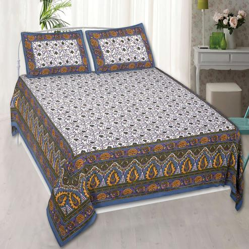 Entrancing Brown Colored Printed Double Cotton Bedsheet With 2 Pillow Cover