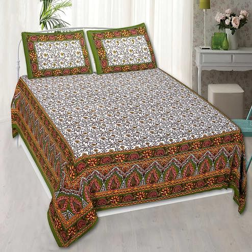 Gleaming Yellow Colored Jaipuri Print Cotton Double Bedsheet with 2 Pillow Cover