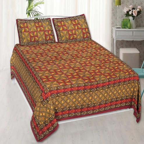 Captivating Red Colored Printed Cotton Double Bedsheet With 2 Pillow Cover