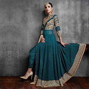 Sea Green Embroidered Work Designer Suit