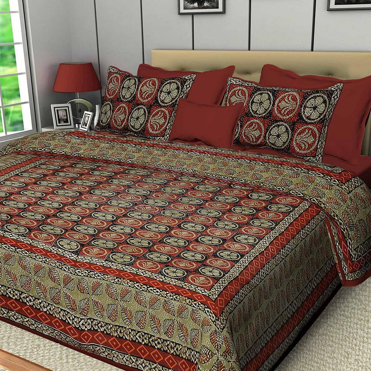 Opulent Red Colored Printed Cotton Double Bedsheet With Pillow Cover