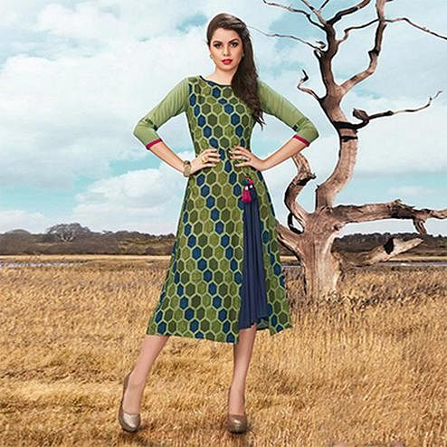 Cool Olive Green Fancy Printed Rayon Tunic