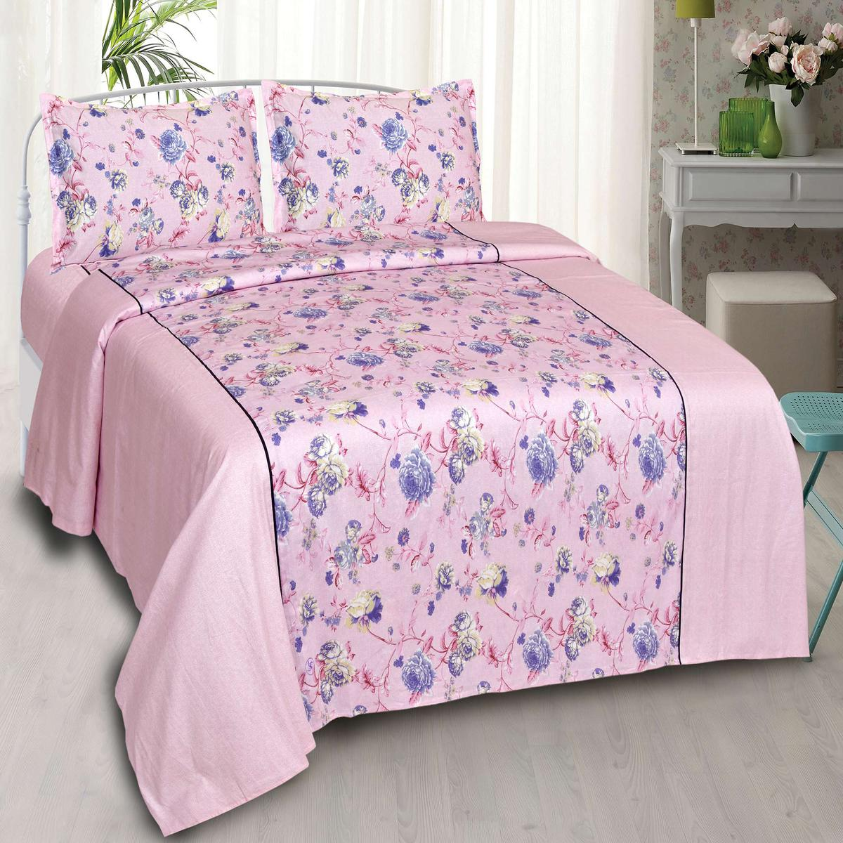 Ethnic Pink Colored Printed Cotton Double Bedsheet With Pillow Cover