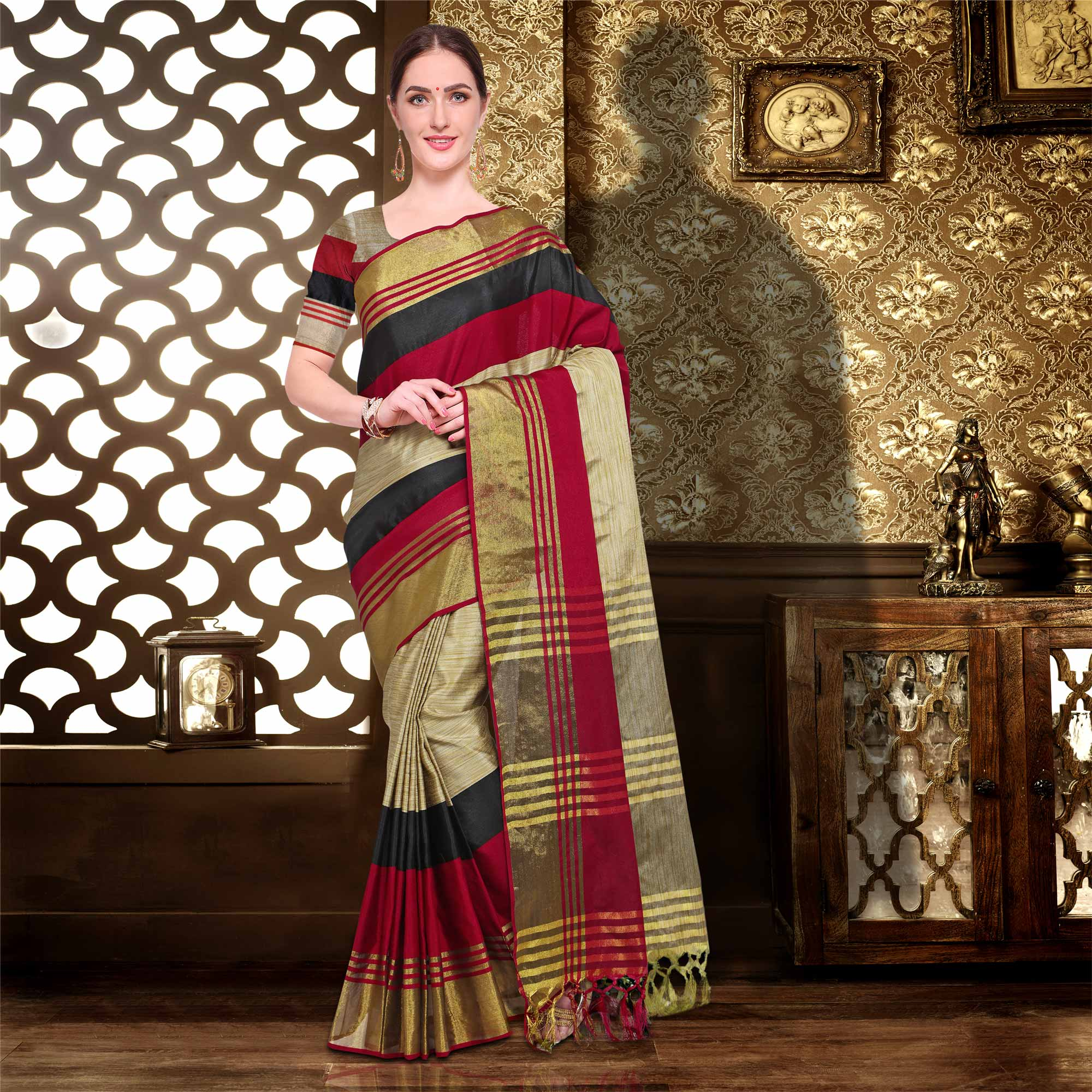 Maroon Colored Festive Wear Cotton Silk Saree
