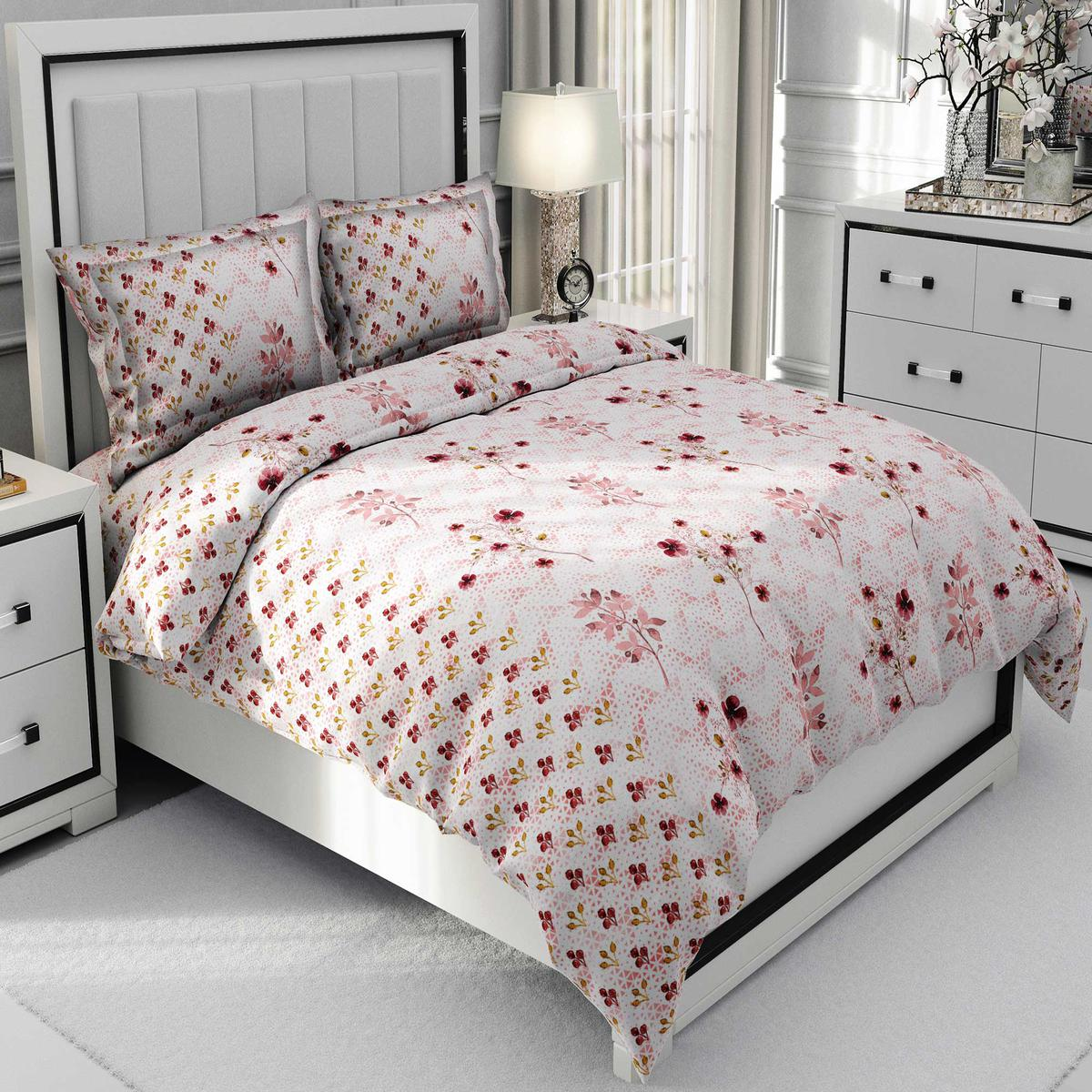 Lovely Pink Colored Floral Printed Cotton Double Bedsheet With Pillow Cover