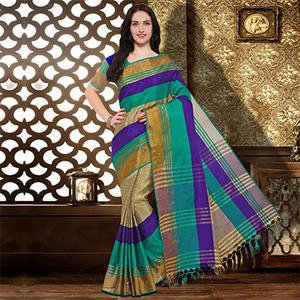 Turquoise Colored Festive Wear Cotton Silk Saree