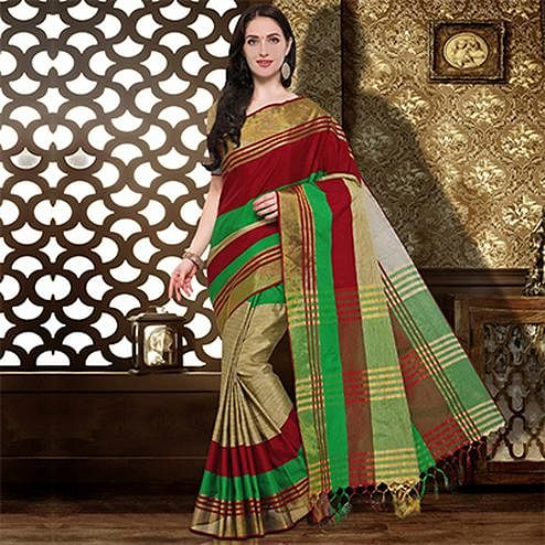 Green - Maroon Colored Festive Wear Cotton Silk Saree