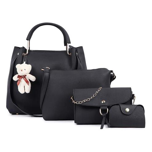 TMN - Mini Needle Combo Of Black Teddy Handbag With Sling Bag And Golden Chain Bag And Coin Pouch