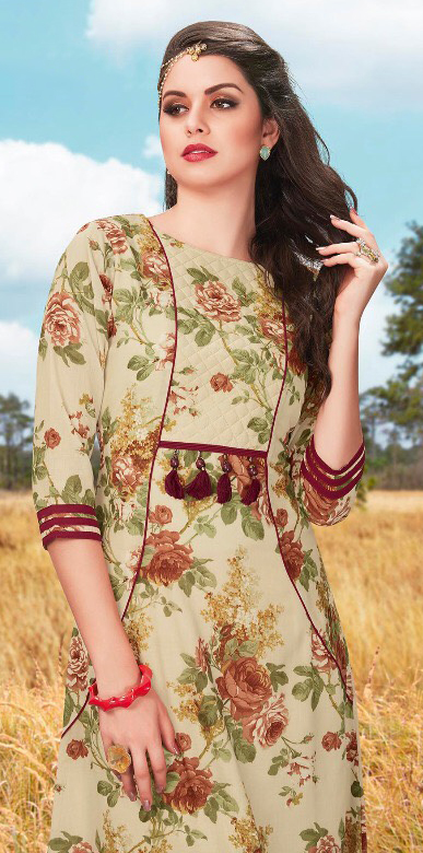 Lovely Beige Fancy Printed Cotton Tunic
