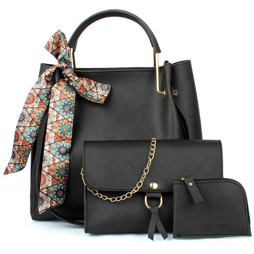 TMN - Mini Needle Combo Of Black Ribbon Handbag With Golden Chain Bag And Coin  Pouch