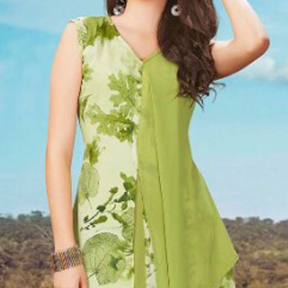Stylish Pista Green Fancy Printed Georgette Tunic