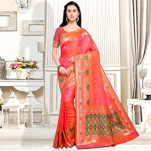 Lovely Pink Designer Festive Wear Silk Saree
