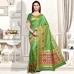 Graceful Green Designer Festive Wear Silk Saree