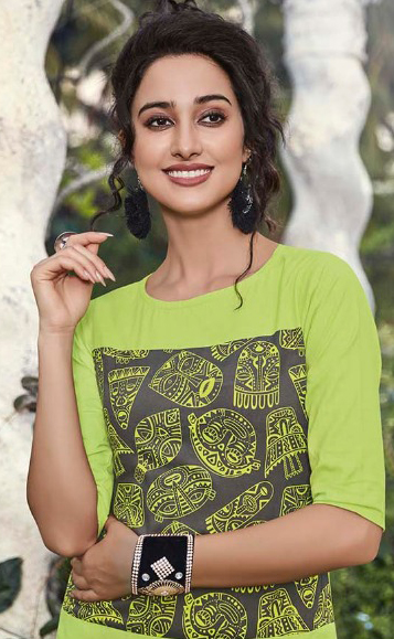 Amazing Green Fancy Printed Rayon Kurti