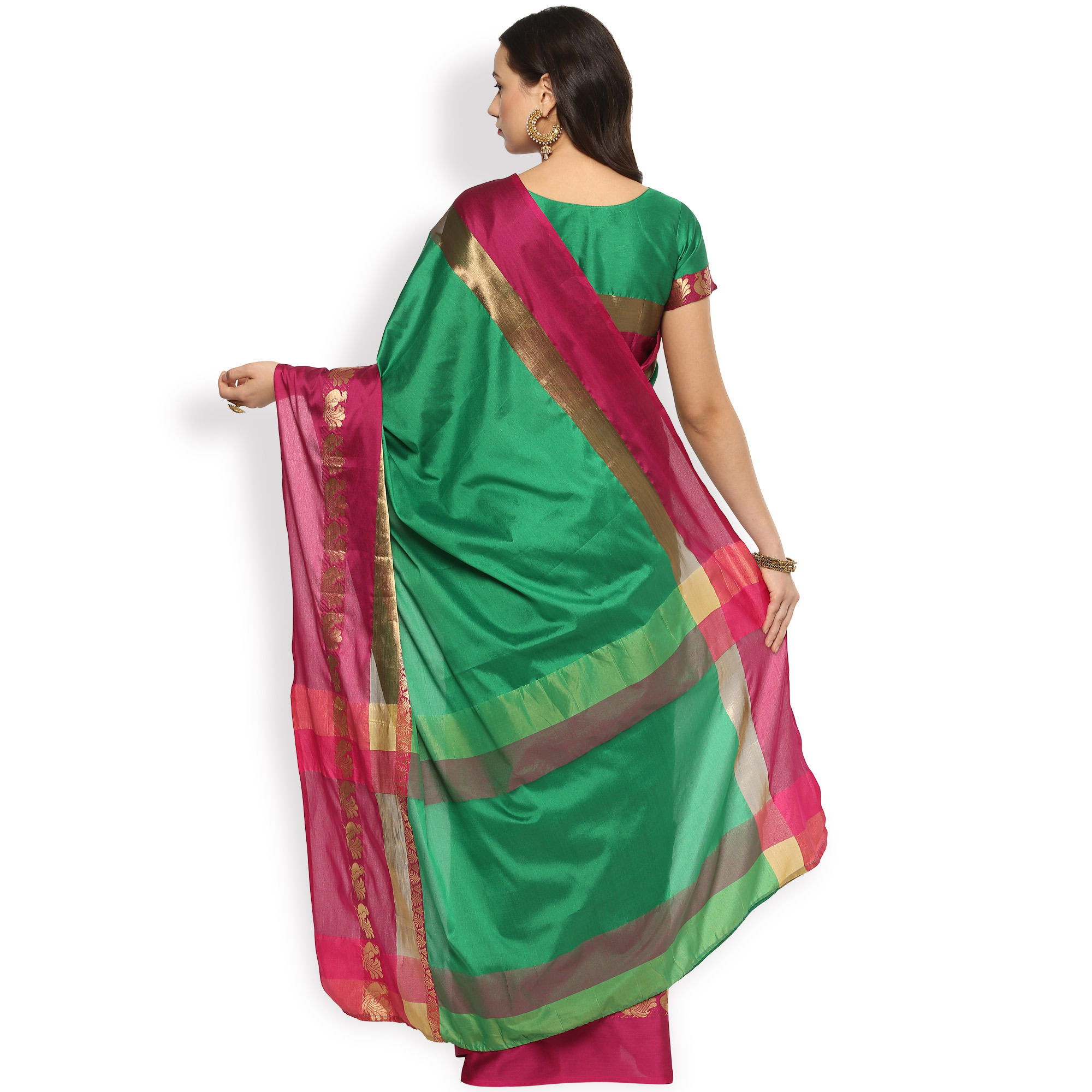Gorgeous Green Colored Festive Wear Cotton Silk Saree