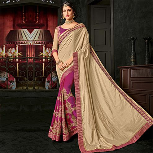 Attractive Beige And Purple Color Two-Tone Silk Saree