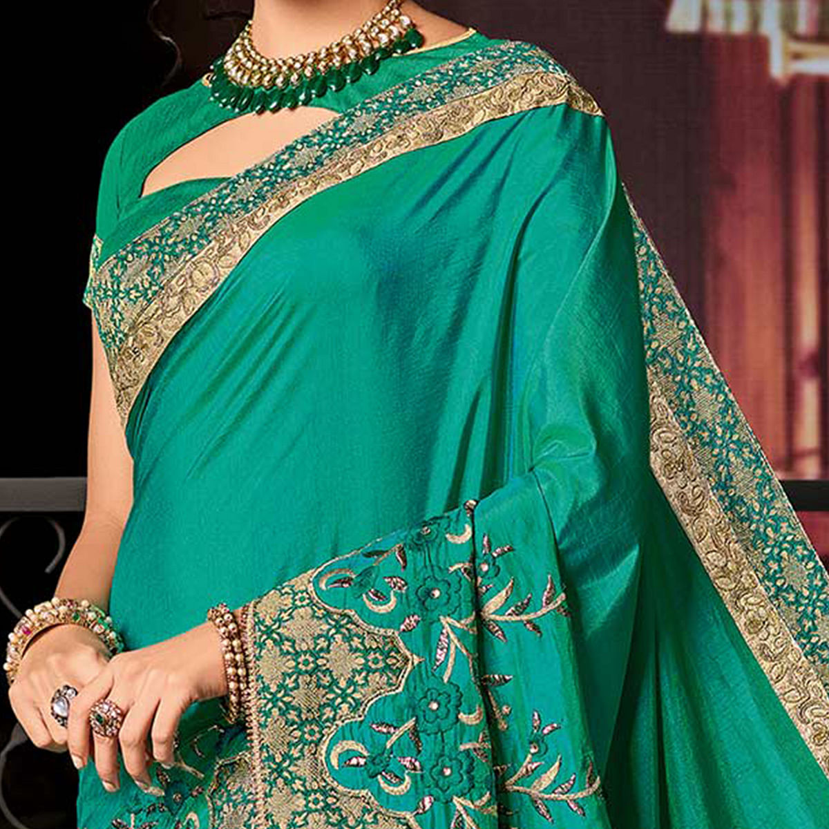 Beautiful Green Floral Embroidered Two-Tone Silk Saree
