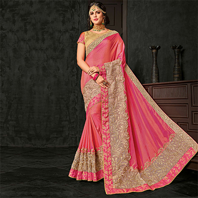 Gorgeous Pink Designer Two-Tone Silk Saree