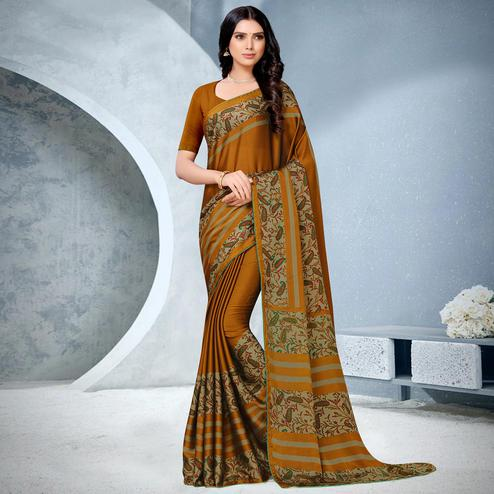 Prominent Brown Coloured Lace Piping Work Casual Wear Georgette Saree