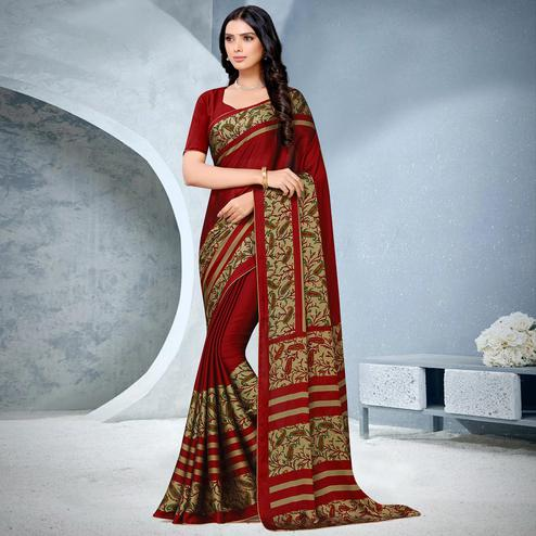 Exotic Red Coloured Lace Piping Work Casual Wear Georgette Saree