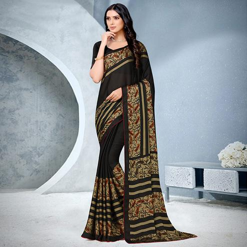 Charming Black Coloured Lace Piping Work Casual Wear Georgette Saree