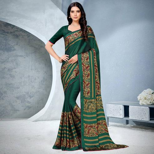 Radiant Green Coloured Lace Piping Work Casual Wear Georgette Saree