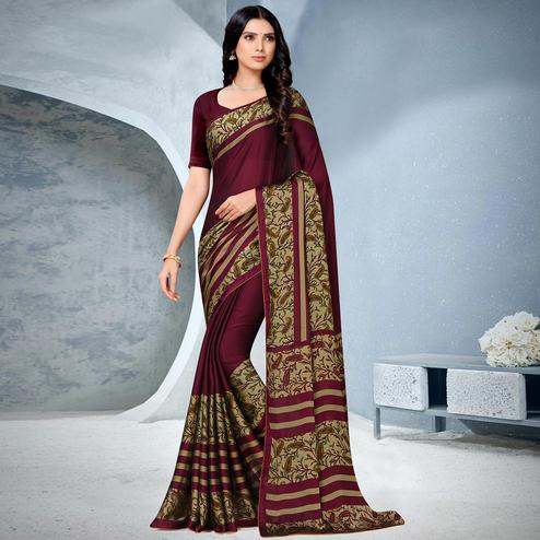 Surpassing Maroon Coloured Lace Piping Work Casual Wear Georgette Saree