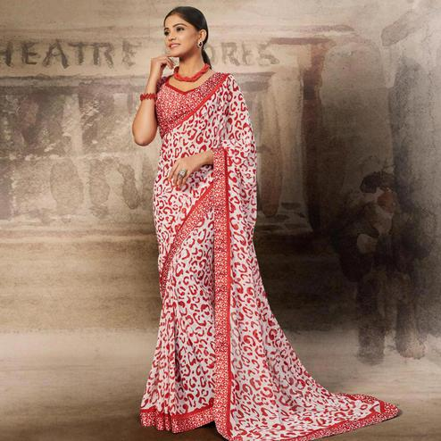 Flattering White-Red Coloured Printed Casual Wear Georgette Saree
