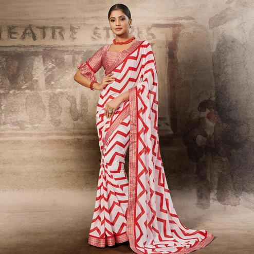 Refreshing White-Red Coloured Printed Casual Wear Georgette Saree
