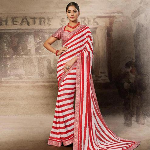 Mesmeric White-Red Coloured Printed Casual Wear Georgette Saree