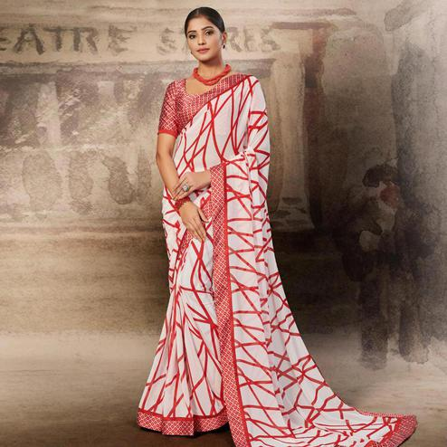Exceptional White-Red Coloured Printed Casual Wear Georgette Saree