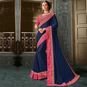 Glorious Blue Embroidered border Moss Chiffon Saree