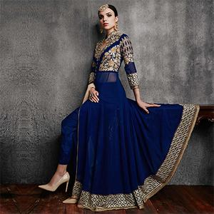 Royal Blue Slit Cut Embroidered Suit